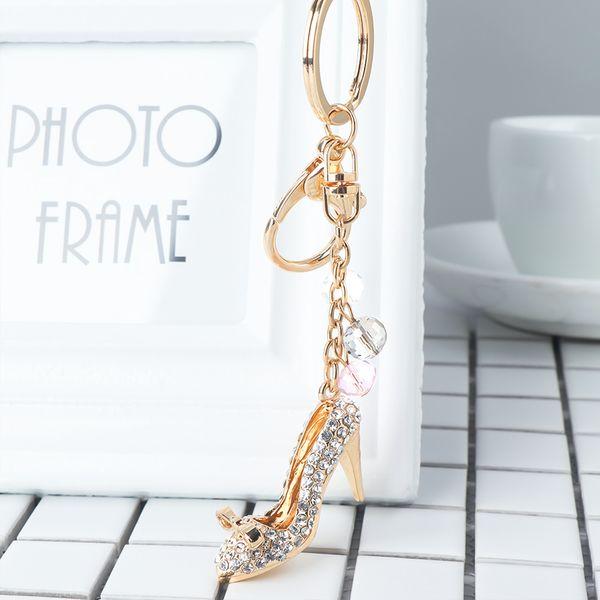 1 Pcs Woman Gold Color High-heeled Shoes Shape Pendant Full Rhinestones Handbag Accessories Creative Design Key Chain Charming