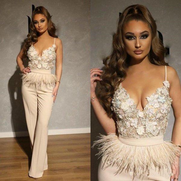 2020 vestidos de Marfil Monos largos Prom espagueti largo Appliqued cordón pluma árabe de Dubai Celebrity vestidos de noche Trajes de vestido del desfile formal