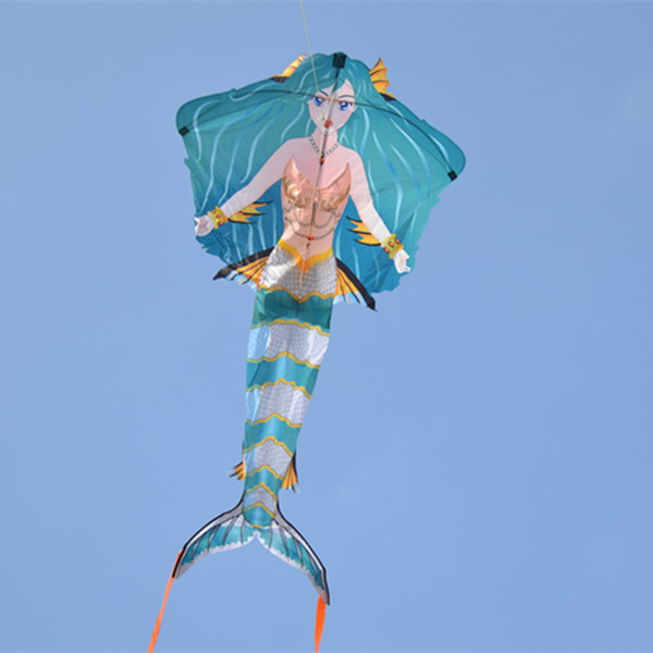 Cometas de juguete para niños Creative Mermaid Stunt Kite Long Tail Outdoor Toy Flying Kite Niños / niñas Cometas Flying Gift High Quality