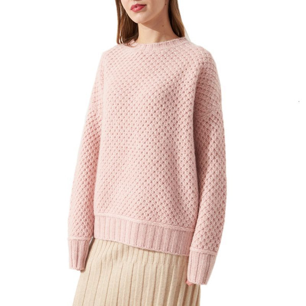 with round neck beating in winter 2019 pure woolen sweater lazy women warm wind warm tissue loose sweater thick women's jacket