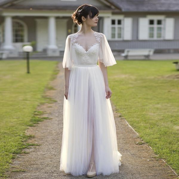Illusion Avorio Tulle Backless Grass Garden Abito da sposa Bohemian Beach Outdoor Maxi Gown Abito da sposa Mezze maniche Custom Made Gown