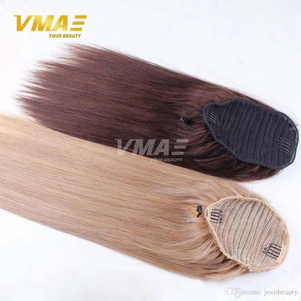 Couleur Droite vierge humaine crue Queue de cheval Naturel queue de cheval queue serrée trou Clip En Cordon Queue De Cheval Extensions de Cheveux