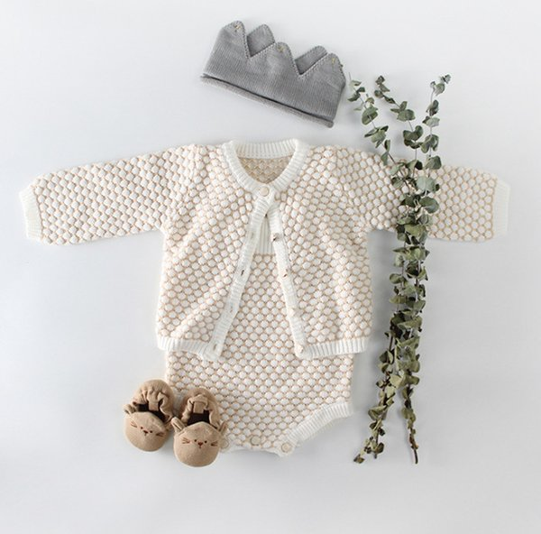Baby kids cardigan infant girls contrast color knitted long sleeve cardigan baby sweater jumpsuits 2019 Autumn new baby girl clothes F8272