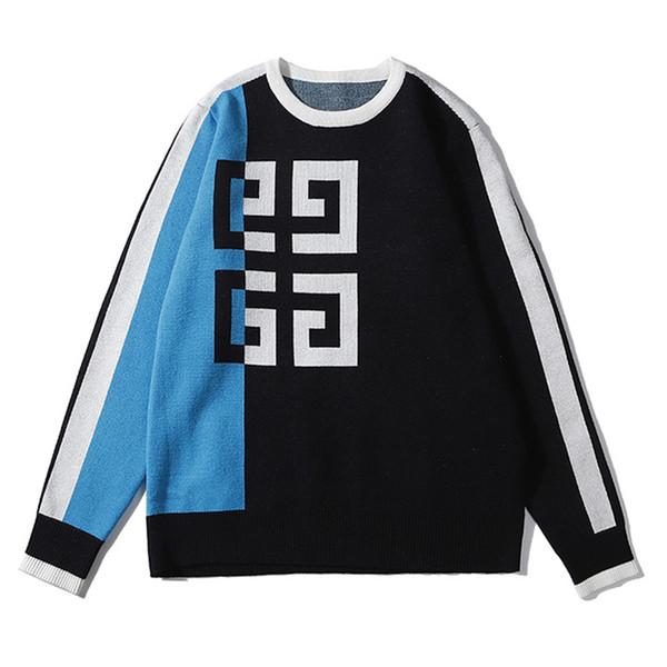 Top Luxus-Designer-Männer Marke Pullover Sweatshirts Fahsion Patchwork Pullover klassisches Logo-Straße mit langen Ärmeln mit Kapuze Autunm Streifen B101002L