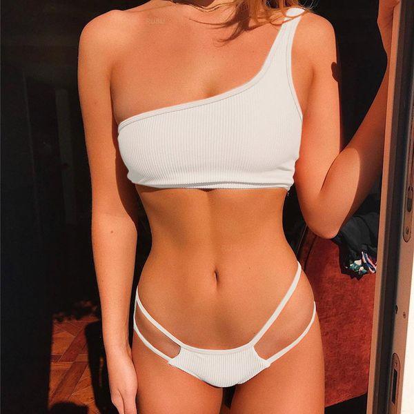 Swimwear 2019 One Shoulder Sexy Bikini Set Push-Up Padded Thong Low Waist cut Summer Bikini For Women Swim Suit Bandeau White