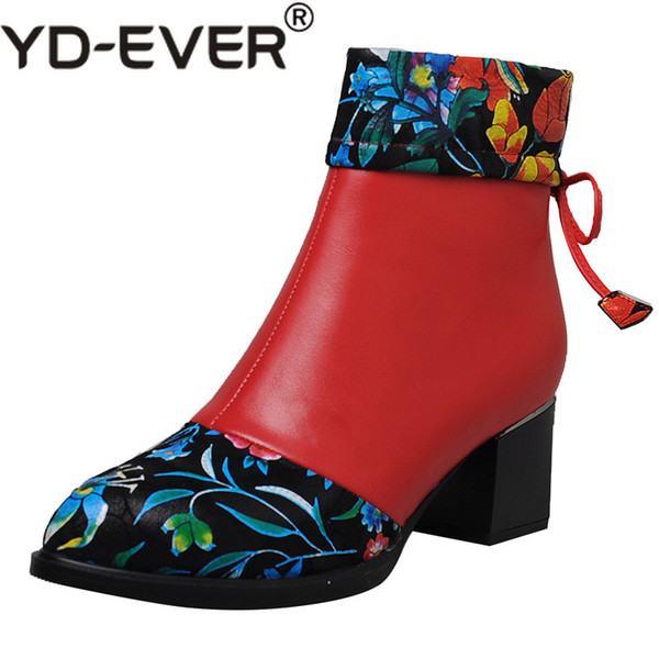 YD-EVER New Women Cow Leather Ankle Boots High Heels Pointed Toe Autumn Winter Party Wedding Shoes Woman Warm Snow Boots