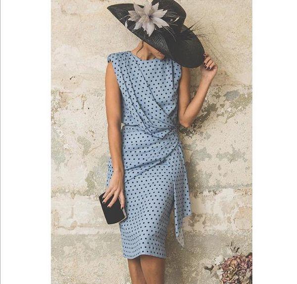 Puantiyeli Elbise Kadın Ofis Midi 2019 Vintage Slim Fit Wrap Parti Elbise Kolsuz Yaz Elbise Plaj Vestidos