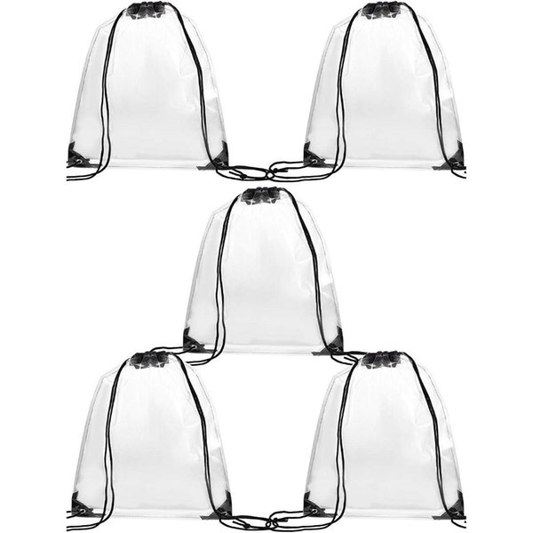 AUAU-5 Pack Transparent Drawstring Bag Clear Cinch Bags Traveling Sport Bags (Black Edge)