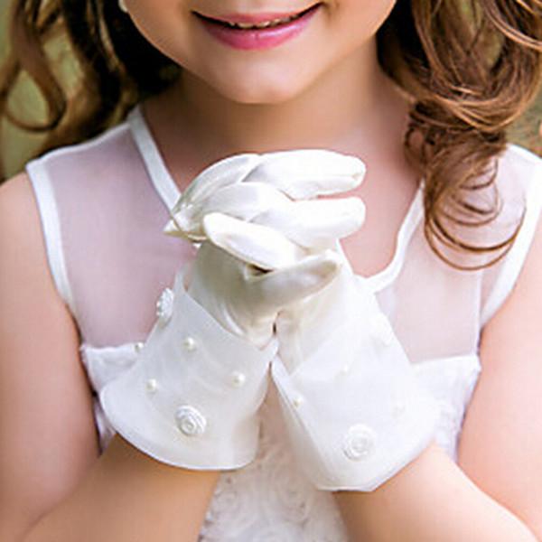 Venda quente Curto Flor Pérola Luvas de Casamento para Meninas Mancha Noite Acessórios de Férias das Crianças Dia Das Bruxas Arco de Aniversário