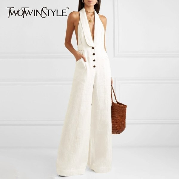 Tw0twinstyle Solid Off Shoulder Sexy Jumpsuit Women Halter Button High Waist Big Size Wide Leg Pants Female Spring Fashion 2019 MX190806