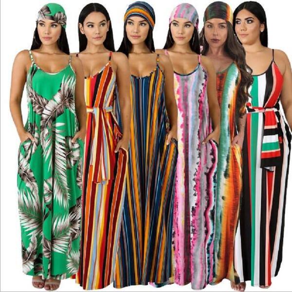 Plus Size Longo Vestido Maxi Mulheres Impressão Listrada Boho Bohemian Praia Vestido Spaghetti Strap Bandage Sexy Club Party Dresses