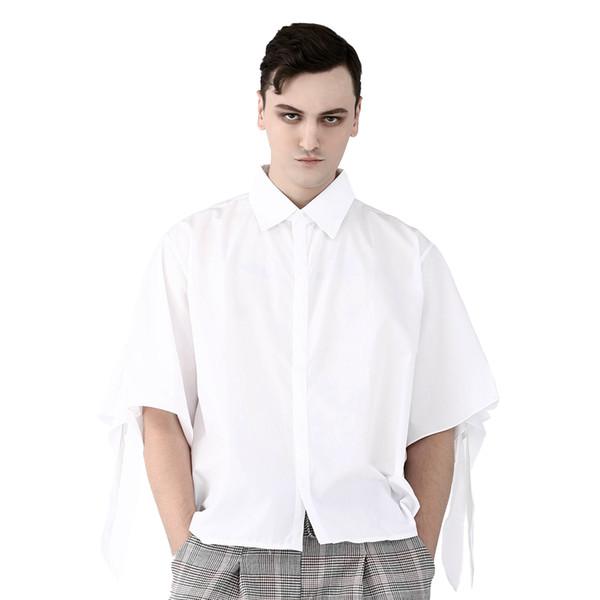 Punk bianco Smart shirt casual per uomo mezza manica di due cinghie di cotone formali parti superiori solide camicetta di estate