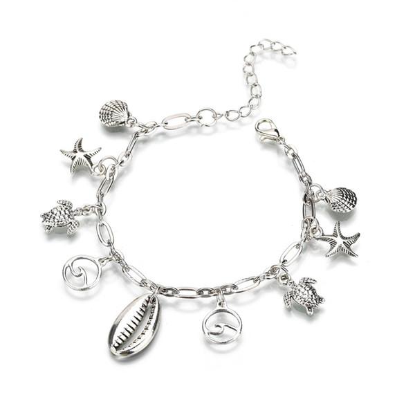Mode Armbänder Frauen Shells Turtles Starfish Handwrist Dekoration Legierung Schmuck Zubehör Weibliche Edelstahl Armband