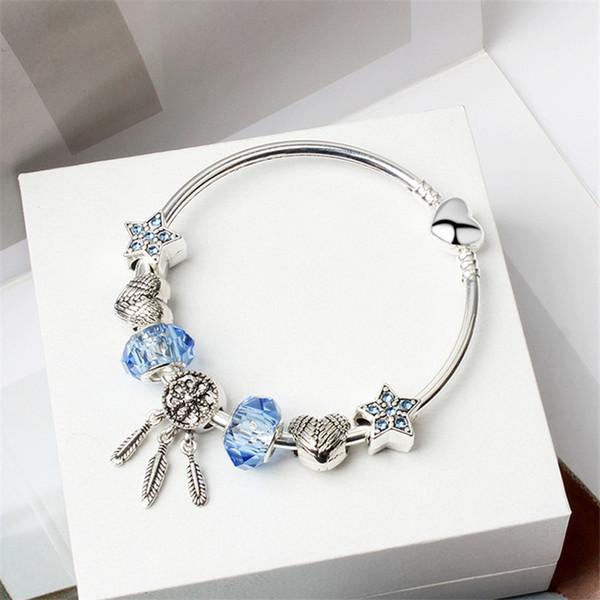 18+3CM Charm Beads Bracelets Fashion Bracelet Dream Catcher Pendant 925 Silver Bangle blue star DIY Jewelry Accessories Wedding gift