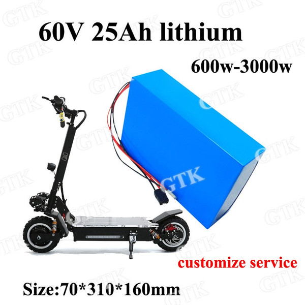 lithium battery 60v 25ah bateria li-ion 18650 60v 2400w lipo for double skateboard electric vehicle Electric Scooter + charger