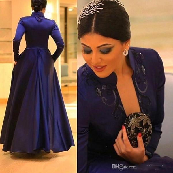 Por encargo 2019 lentejuelas decentes Vestidos de noche Cuello alto Manga larga Oscuro Azul real Longitud del piso Vestidos de noche encantadores Vestidos de baile