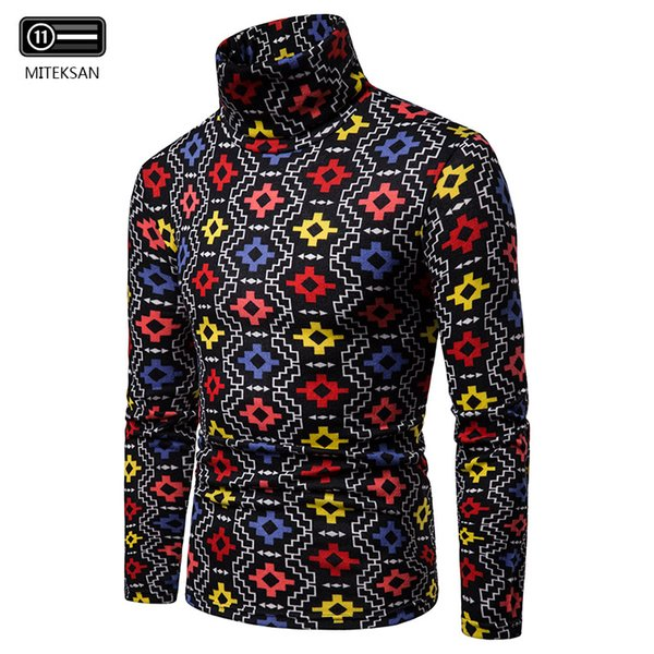 2019 new winter men's large plush thermal high-collar sweater block long-sleeved bottom shirt pullover warm sweater men thumbnail