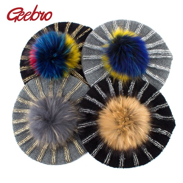 Geebro Women's Bronzing Black Berets Hat Ladies Spring Casual Knitted Acrylic French Beret Cap With Real Raccoon Fur Pompon