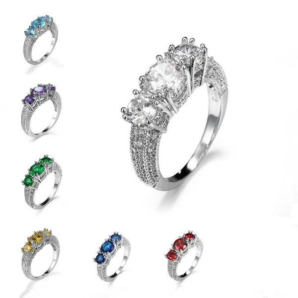 Европа и Соединенные Штаты семь цветов Циркон простой и стильный пара gem кольца женские ювелирные изделия подарки