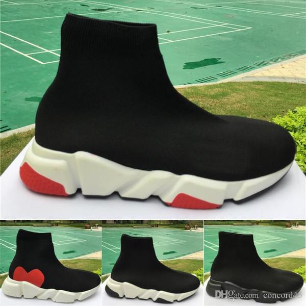Ücretsiz Kargo 2019 Tasarımcı Çorap Erkek Kadın Sneakers Moda Ayakkabı Siyah beyaz Kırmızı Düz Klasik Erkek Eğitmenler Koşucu Rahat Ayakkabı Boyutu 36-45
