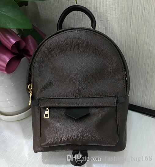 top popular 2018 Hot Sell Fashion Designer Backpack Men and Women High quality Mini backpack student travel backpacks Brown L Letter leather backpack 2019