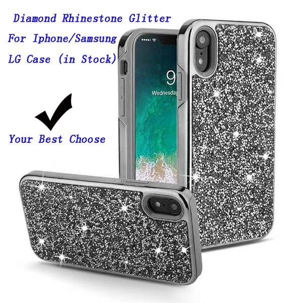 Diamond Rhinestone Glitter Cell Phone Case 2 in 1 electroplate Bling Phone Cover For iPhone XR XS MAX X 8 7 6 Samsung S10 e S10 Plus