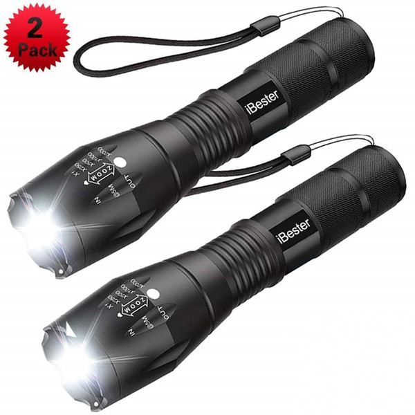 Free Shipping Tactical Flashlight, iBester 1600 Lumens CREE XML-T6 LED Taclight, Portable, Zoomable, 5 Modes, Perfect for Camping