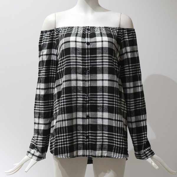 2019 Spring Women Plaid T-shirt Slash Neck Long Sleeves Single Breast Pullover Women Grid Printed Off Shoulder Blouse Wholesale