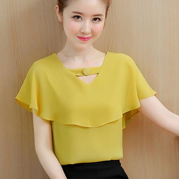 Bayan Ve Bluzlar Tops Yaz Şifon Bluz Kadın Giyim Bayanlar Kısa Kollu Gömlek Ruffles Giyim Camisa Feminina Tops