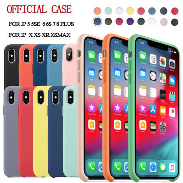 have logo original official liquid silicone cases rubber shockproof cover case for iphone 11 pro max xs xr x 8 7 6 6s plus with retail box