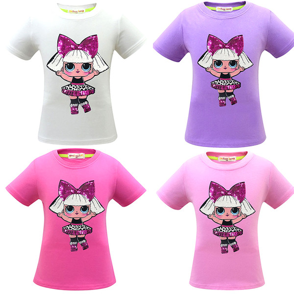 2019 new styles lol Creative girl image T-shirt 100% cotton short-sleeved flip sequins girls T-shirt good quality 4 colors