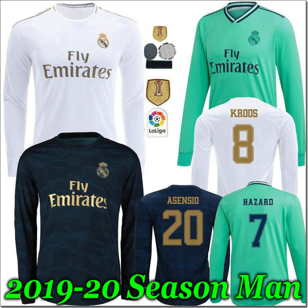 19 20 Real Madrid Soccer Jersey 2019 2020 Accueil RISQUE kroos CITP Modric de football uniforme homme adulte Gardien de but de football à manches longues chemise