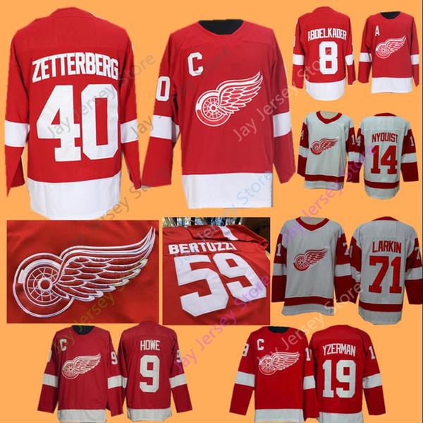 Detroit Red Wings Trikot Justin Abdelkader Gordie Howe Pavel Datsyuk Nyquist Steve Yzerman Henrik Zetterberg Dylan Larkin Mann Frauen Jugend