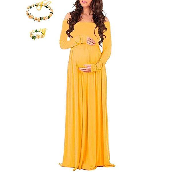 H1ING: Umstandskleid f/ür Fotografie geteilte Vorderseite Maxi-Schwangerschaftskleider f/ür Fotoshootings. Chiffonkleid schulterfrei
