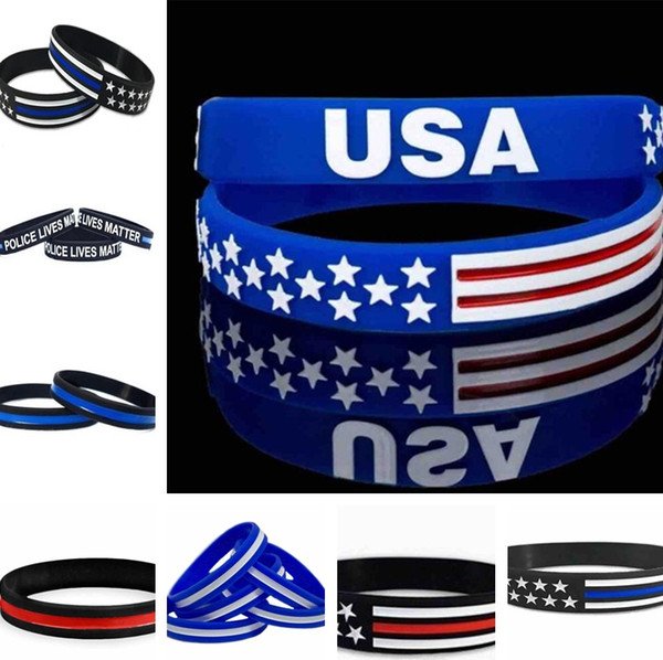 best selling 13 styles 500pc Lot Thin Blue Line American Flag Bracelets Silicone Wristband Soft And Flexible Great For Normal Day Party gifts C0162