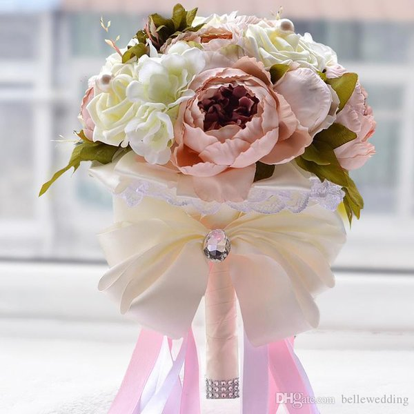 Bridal Bouquets For Wedding With White Rose & Pearl Pink Peony Artificial Pearls Handmade Artificial Wedding Bouquets #DB B014 Bridal Flower Bouquet