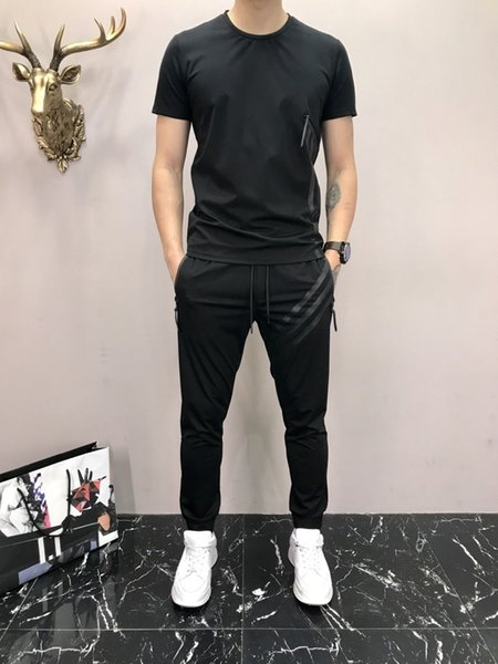 Summer New Product Male Style Leisure Time Suit Fashion Youth Young Man T-shirts Slim Binding Feet Trousers Short Sleeve Motion Suit a1