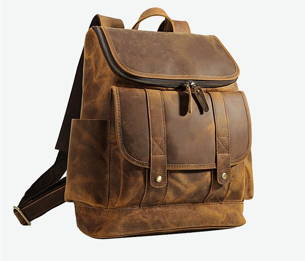 Hot Selling Mad Horse Leather Shoulder Travel Backpack Head Layer Cattle Leather Outdoor Leather Computer Bag