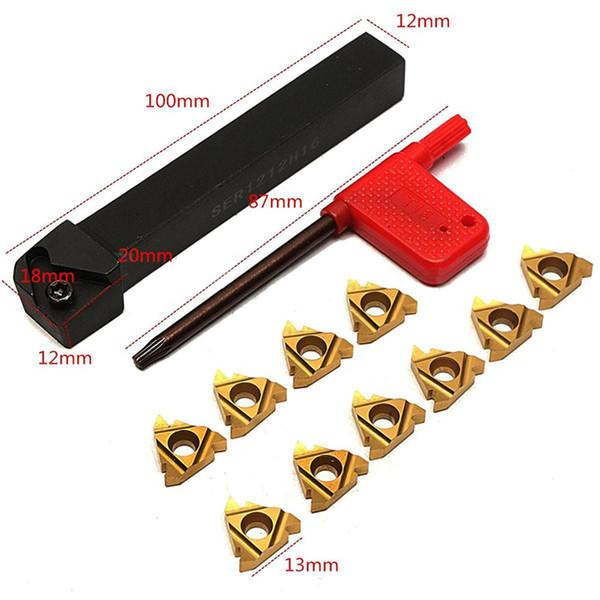 SER1212H16 ЧПУ Держатель инструмента с 10шт 16ER AG60 карбида вставить и ключ для токарного инструмента