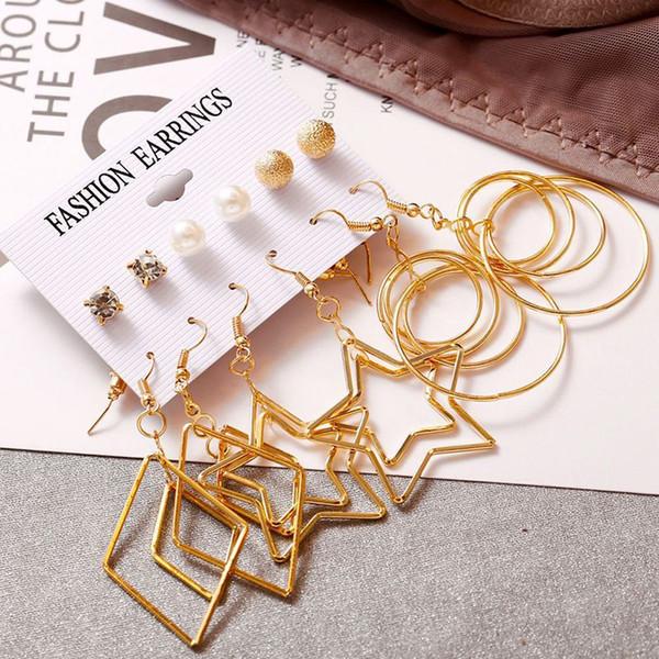 6 Çift / grup Retro Kazınmış Altın Büyük Daire Çok Küpe Kadın Kızlar Için Set Büyük Çelik Brincos Takı Moda hediyeler