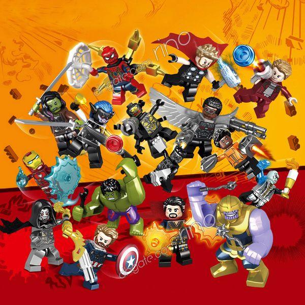 Marvel building blocks Establece los Avengers Mini Superhéroe Superhéroe Iron Man Capitán América Viuda negra Thor Hulk Figuras Bloques Juguetes