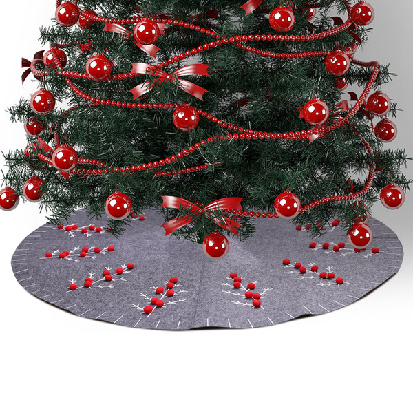 Diameter 120cm Non Woven Grey Christmas Tree Skirt with Red Ball Decoration for Festival House Party Shopping Mall Window Gift Supplies
