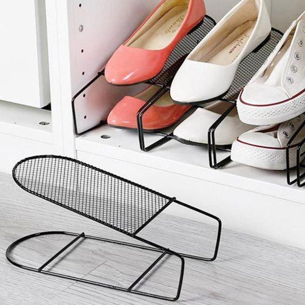 Iron Double Shoe Rack Cabinet Stretcher Wardrobe Shoe Storage Organizer Shelves Stand For Footwear Home Storage Supplies