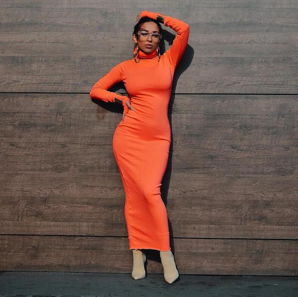 Color neón manga larga cuello alto cintura alta bodycon vestido 2019 otoño invierno moda mujer vestidos de fiesta elegantes Vestidos casuales