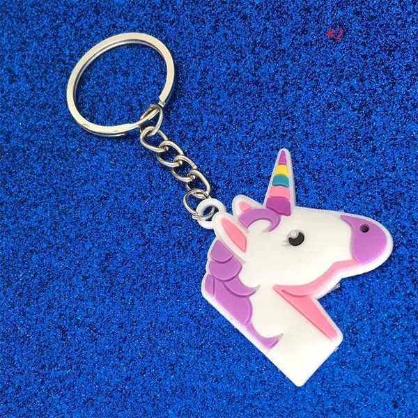 Souvenirs PVC Unicorn Keychain Key Ring Chains Bag Hang Pendant Plastic Fashion Accessories Jewelry for Women Kids Promotion Gift