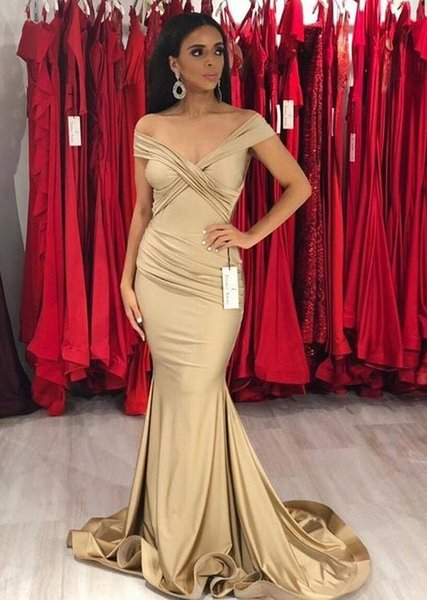 Vestidos de Fiesta Off the Shoulder Prom Dresses Long Cheap Mermaid Evening Gowns Pleated Cocktail Party Dress Formal Gown Robes de Soiree