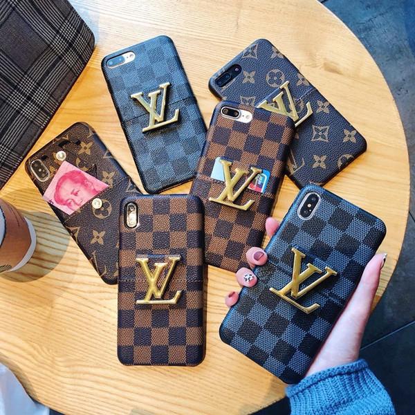 Casos de telefone designer de luxo para o iphone 6/7/8 plus XS MAX / XR couro PU com suporte e slot para cartão quadrado designer de moda casos de telefone grátis