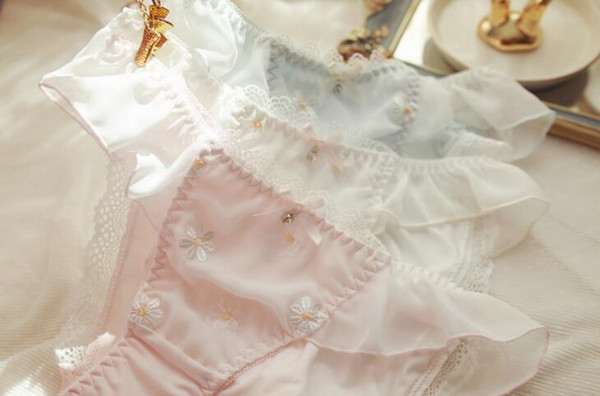 100% Real Photos M L XL Lovely Cute Lolita Kawaii Princess Sexy Embroidery Ruffle Chiffon Panties Underwear Brief Lingerie 346