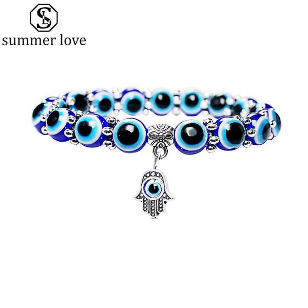 New Fashion Evil Lucky Eye Hamsa Hand Beads Bracelet for Women Men Elastic Acrylic Turkish Bracelet Fashion Jewelry