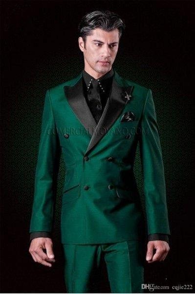 Novo Design Clássico Double-Breasted Verde Noivo Smoking Padrinhos Pico Lapela Melhor Homem Terno de Casamento Dos Homens Blazer Ternos (Jacket + Pants + Tie)